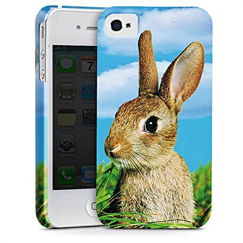 Apple iPhone 4 Tasche Hülle Flip Case Kaninchen Hase Häschen Premium Case glänzend