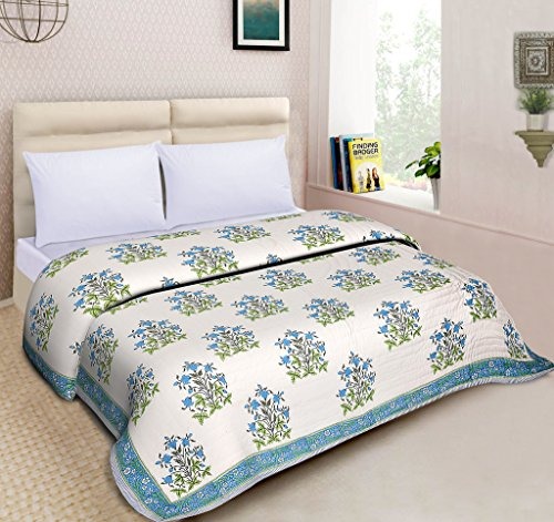 Mom's Home Organic Cotton Double Bed- Soft and light weight Comfortor/AC Quilt - Tulip flower - Ecofriendly handblock Design- Blue