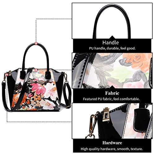 Miss LuLu Modern Damentasche Winged Bürotasche Hobo Bag Handtasche Groß PU-Leder Multifunktion (E1639-Blumen/Pink) E1639-Blumen/Schwarz