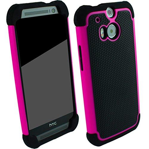 Outdoorschutzhülle für HTC ONE M8 Case pink inkl. Bildschirmschutzfolie Outdoor Cover Hybrid Schutz Hülle Sturz Bumper Folie Schwarz Black