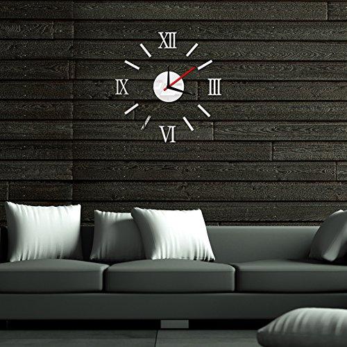 Demiawaking-Orologio da parete tridimensionale-Adesivi con numeri romani, stile moderno, con caratteri ora di orologi Home Decor %2FSliver), colore: oro Argento