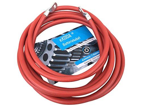 eXODA Câble de Batterie 200cm câble d'alimentation en cuivre 25 mm² avec cosses à œillets M10 Rouge 12V câble de Voiture