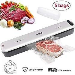ACRATO Machine sous Vide Alimentaire Appareil Mise sous Vide Alimentaire Emballeuse sous Vide du Scellement Soudé vec 5 Packs Sac d'Emballage