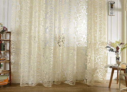 Imported Jacquard 3D Big Flower Pattern Curtain Sheer for Living Room Beige