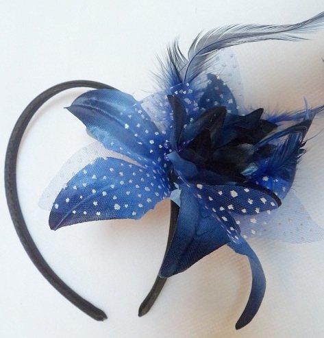 Pointillé Filet Fleur & Plume Bibi Satin Serre-tête Bleu Marine Réf : 4008