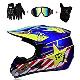 HWJF Doppelter Sport-Motocross-Helm MX-Motorradhelm ATV-Roller-Downhill-Schutzhelm D.O.T-zertifizierter Fuchs mit Brille, Handschuhe (4 Stück),3,M