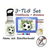 3 TLG Set Brotdose, Obstdose und Trinkflasche mit Fußball Motiv und Name/Fussball/Schriftwahl für Name/Kindergartenset/Schulset/Lunchbox + Flasche + separate Obstdose mit Namen