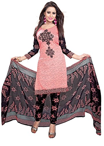 Women's Party Wear Lower Price Designer Colletion Crepe Peach Colored Printed Chudidar Salwar Suit Khameez Kurta Dress Material  available at amazon for Rs.399