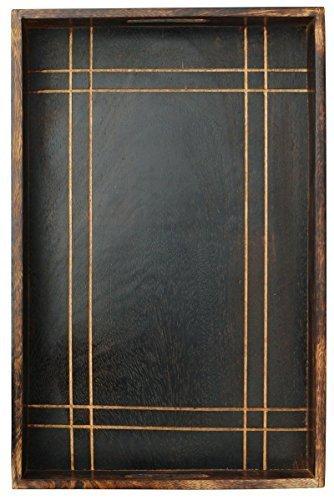 Verkauf auf Holztablett - SouvNear Handmade Holztablett mit Griffen Serve - 42.6x28 cm Küche Tablett zum Servieren von Tee Desserts Snacks Getränke auf Partys - Dekorative Vintage-Look Serviertablett