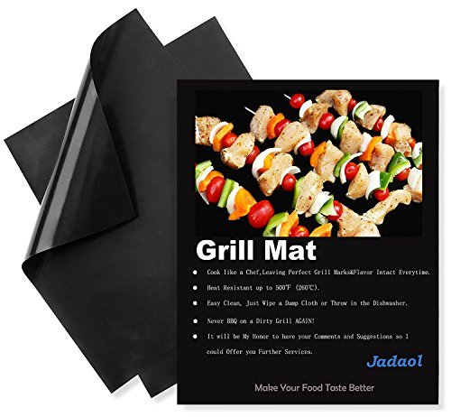Non Stick BBQ Grill Mat Set of 2-Resuable Oven Liner-Easy-Clean Cookware Safe Cooking Sheets for Gas, Electric, Convection, Dutch, Pizza and Toaster Ovens-Black