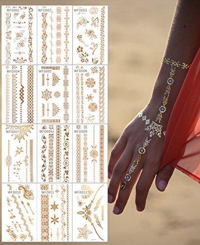 FLASH Tattoos 3D GOLD / Mega Set / 12 x Tattoosets / Einmaltattoo Armbänder Hand / 100 Teile WFD1-12 - LK Trend & Style