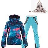 Damen 2 Teilig Skianzug Wasserdicht Schneeanzug Jacke und Hosen Skiset SunFlower6666 (Blue, Small)