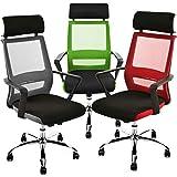ESTEXO® Bürostuhl mit Kopfstütze, Schreibtischstuhl, Design, Drehstuhl, Stuhl, Mesh, Netz (schwarz/rot)