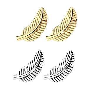 PiercingJ 2 Paare Edelstahl Feder Form Federförmig Ohrpiercing Ohrstecker Helix Tragus Ohrläppchen Ohr Piercing Barbell Stud Silber/Gold (silber + gold)
