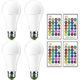 OurLeeme 15W RGB + Cool White E27 16 Farben Ändern der LED-Glühlampe mit Fernbedienung, Tägliche Beleuchtung für Zuhause KTV Stage Club Party Lampe (Batterien nicht enthalten) (4PCS)