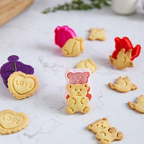 ElecMotive 4 teiliges Cookie Cutters Plätzchenformen Backformen Fondant Keks Ausstechformen Set mit Auswerfer Farbe zufällig gesendet Bär (M)