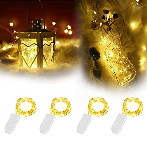 4 Pack LED Lichterkette mit Batterie, InnooLight 2m 20er Wasserdichte Warmweiße Batteriebetriebene Lichterketten, als Weihnachtsbeleuchtung inkl. Batterie