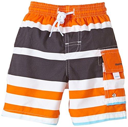 Jungen Schwimmen Badeanzug (Snapper Rock Jungen UPF 50+ UV Schutz Schwimmen Shorts Surf Shorts für Kinder & Jugendliche Orange/Dunkelblau/Weiß 7-8 Jahre, 128-134cm)