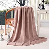 Exclusivo Mezcla 127 x 178 CM Soft Plush Flannel Throw Blanket for Settees/Sofa/ Chairs (Pink) - Large, Lightweight, Warm and Cozy