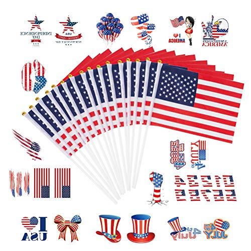 amerikanische Sticker-Flagge mit 10 Stück Tattoo-Aufkleber - Party-Dekorationen für 4. Juli, Sportclubs, Festival-Events Feier ()