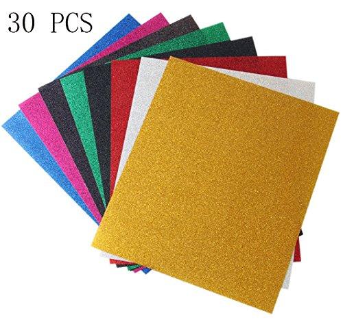 30 Blatt Vinyl Selbstklebefolie Transferpapier Vinylfolien T-Shirt Folie Transferfolie Textilfolie Glitzer zum Aufbügeln auf Textilien DIY(Zufällige Farben)