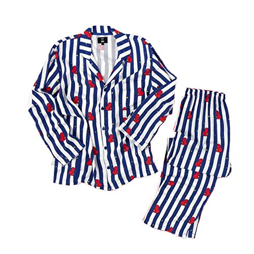 BTS Bangtan Boys Versión de Dibujos Animados Estilo BT21 Unisex BTS Pijamas Set Camisa de Dormir Camisa de Manga Larga Camisón