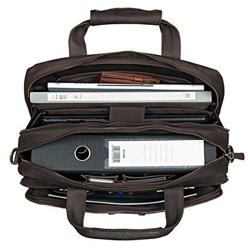 5fafdcbbe554a4 STILORD 'Explorer' Borsa da lavoro Porta documenti grande in pelle a tracolla  per PC Uomo Donna stile vintage per insegnante ufficio, Colore:marrone  scuro - ...