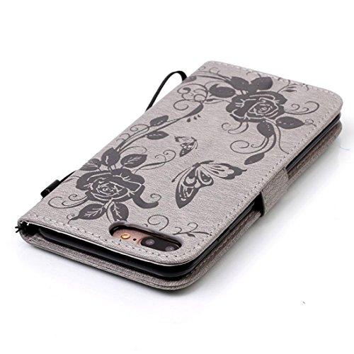 iPhone 7 Plus Coque - Gris, Bling Cristal Strass Cuir Etui Rabat Style Portefeuille Case Avec Carte Slots pour Apple iPhone 7 Plus 5.5 inch Avec Fleur Papillon Embossage Motif gris