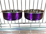 Ellie-Bo Pair of Dog Bowls for Crates/Cages or Pens, Medium, 0.9 Litre, Purple