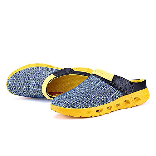 Bwiv sabots d'été légers pour homme et femme sandales de plage pantoufles avec bride des tailles 37-43 Bleu clair avec bride jaune