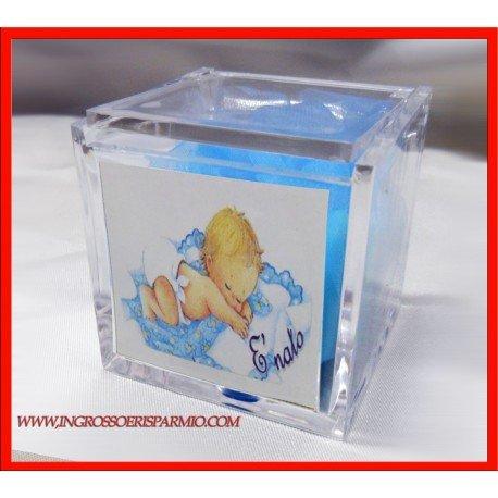 'Boxen aus Plexiglas Gastgeschenk mit Bild von einem Kind schläft auf einem Kissen Azzuro und Aufschrift