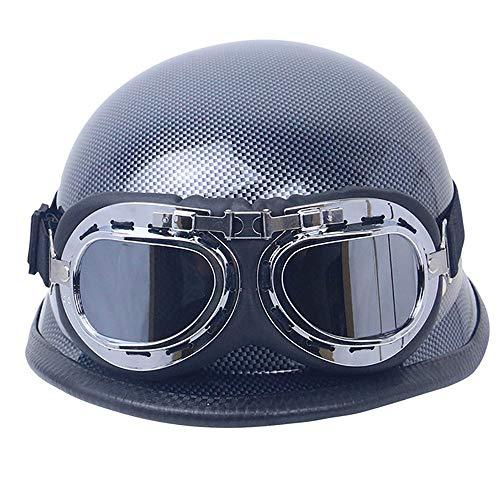 BAOB Casco de Moto de Vintage con Gafas Casco de Protección de Estilo Antiguo para Moto Scooter Motocicleta Casco Motocross Mitad Open Face Casco para Harley Dot Certificacion
