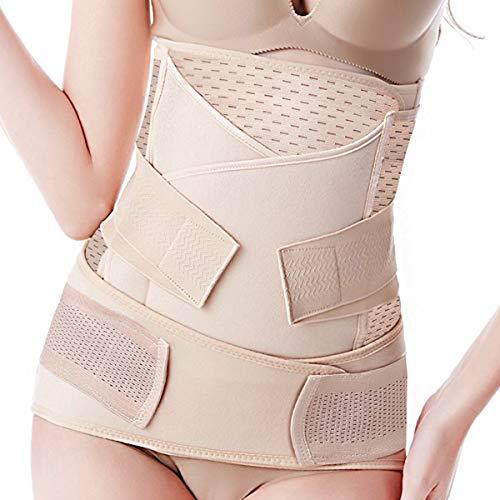 3 in 1 Postpartale Unterstützung - Erholung Bauch/Taille/Becken Gürtel-Taille Gürtel Atmungsaktiv, postnatal bauchgurt & Postpartum Band & nach der Geburt bauchgürtel (Größe F)