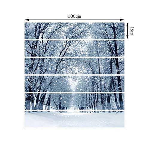 (3D Kreative Treppen Tür Selbstklebende Tür Wandbilder Aufkleber Wand Abziehbild Weihnachten Schnee Szene Landschaft Wohnzimmer Flur Vinyl Wasserdicht Selbstklebende Treppenhaus Dekoration 18 X 100 Cm)