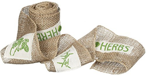 Sullivan's 6 X 10' Burlap Ribbon with Beige Patches of Green Leaves and Herbs by Sullivans