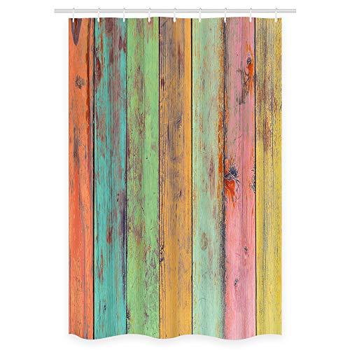 NYMB Vintage Bunte Tapeten-Artwork bemalt auf Holz Duschvorhänge, Polyester Stoff Wasserdichter Duschvorhang, Badezimmerzubehör, 91,4 x 182,9 cm, rostfreie Badvorhanghaken enthalten