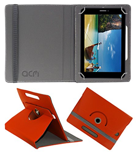 Acm Rotating 360° Leather Flip Case for Iball Slide 2g 7236 Cover Stand Orange  available at amazon for Rs.149