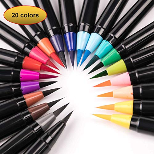 mychoose 20 Colors Watercolour Brush Pens Set Colouring Pens Soft Flexible Brush Markers with 1 Free Refillable Blending Water Pen Fineliner Tip for Manga Comic Calligraphy Colouring Books