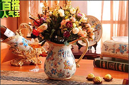 Mon5f Home Vintage handgemachte europäische Keramik Blumentopf Vase für Mittelstücke Wohnzimmer Weihnachten Geburtstag Hochzeit Geschenk Desktop Home Decor