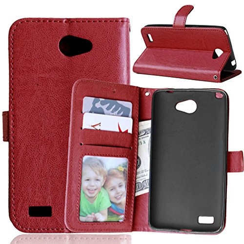 YHUISEN Solid Color Premium-PU-Leder-Mappen-Magnetic Buckle Design-Flip Folio Case Schutzhülle mit Kartensteckplatz / Stand für LG Bello II / Prime II / Max ( Color : Red ) Brown