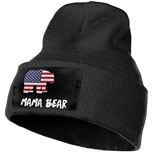 SDLZIJFGHBC Men & Women LGBT Mama Bear American Flag Outdoor Stretch Knit Beanies Hat Soft Winter Knit Caps (Kit American Outfit School Girl)