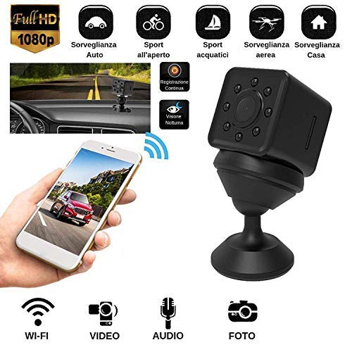Mini Telecamera Nascosta Spy Cam Camera infrarossi Spia WIFI Full HD Micro SD + Omaggio custodia Waterproof Subacquea