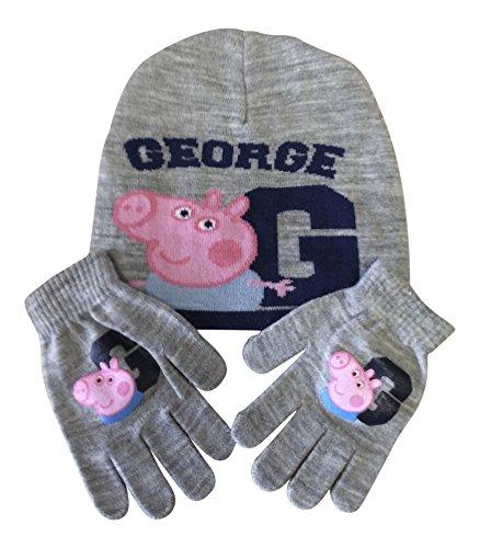 Juniors Garçons Enfants / Chapeau chaud de caractère et Gants en tricot d'hiver filles ensembles Peppa Pig George Gris PG1