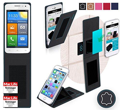 reboon Hülle für Elephone G3 Tasche Cover Case Bumper | Schwarz Leder | Testsieger