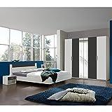 Wimex Schlafzimmer Set Ilona, Bestehend aus Einem Schrank, Bett und Nachtschränken, Liegefläche 160 x 200 cm, Weiß
