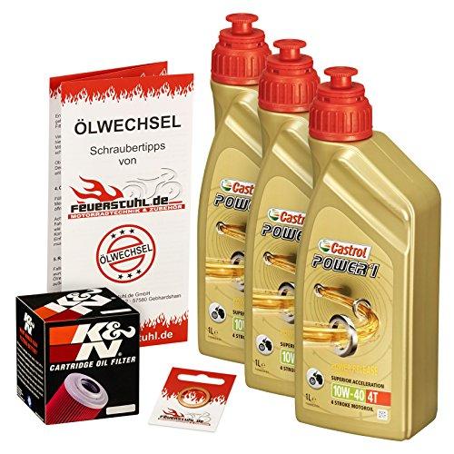 Castrol 10W-40 Öl + K&N Ölfilter für Suzuki GS 500 /E/F, 79-08, GM51A GM51B BK - Ölwechselset inkl. Motoröl, Filter, Dichtring -