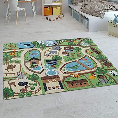 Paco Home Kinder-Teppiche, Kurzflor-Teppiche für Kinderzimmer mit vers. Designs Spielteppiche Bunt, Farbe:Beige, Grösse:120x160 cm