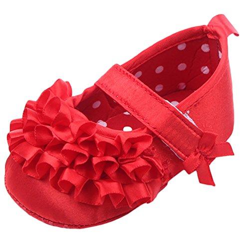 CHENGYANG Scarpe del Principessa, Primi Camminatori Scarp Morbidi Sole, Nuova Neonata Rosso