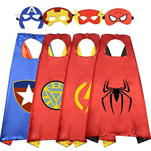 Dreaming Geschenke für Jungen ab 3-12, Superheld Umhang für Kinder Partyzubehör für Jungen 2019 Superheld Kostüm für Jungen Spielzeug Junge 3-12 Jahre 4 Stück (Kostüm Für Superhelden)