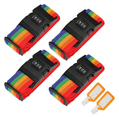 4 piezas Correas de equipaje, Ajustable Viajar Contraseña Bloquear Embalaje Cinturón Maleta equipaje Seguridad Correas (4 PACKS)